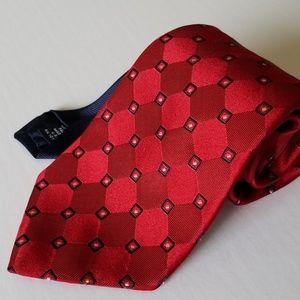 Tommy Hilfiger Men's Tie 100% Silk Red Blue/White